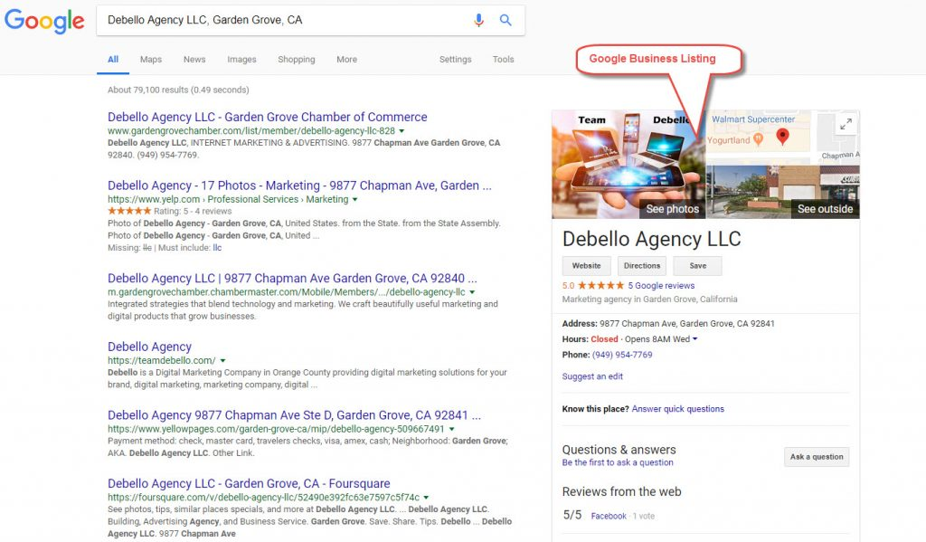 debello google business listing